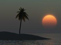 Île tropicale au coucher du soleil Photo stock
