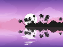 Île tropicale avec des paumes au coucher du soleil illustration de vecteur