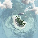 Île tropicale avec le bateau Images stock