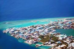 Île tropicale d'atoll de Kaafu d'île de Thilafushi Photos libres de droits
