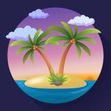 Île tropicale d'océan de vacances de vacances d'été avec l'illustration plate de vecteur de palmier Photo stock