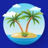Île tropicale d'océan de vacances de vacances d'été avec l'illustration plate de vecteur de palmier Photos stock