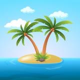 Île tropicale d'océan de vacances de vacances d'été avec l'illustration plate de vecteur de palmier Photo libre de droits