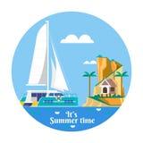 Île tropicale d'océan de vacances de vacances d'été avec le palmier Illustration de vecteur Image stock