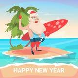 Île tropicale d'océan de vacances de vacances de Santa Claus On New Year Christmas Photos libres de droits