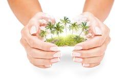 Île tropicale dans des mains femelles Photographie stock