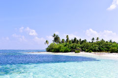 Île tropicale dans l'atoll des Maldives Laamu Image libre de droits