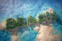 Île tropicale dans l'océan avec des arbres comme signe de plage Photo libre de droits