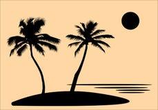 Île tropicale de mer avec des palmiers et des fleurs, le soleil silhouettes noires et découpes sur le fond orange Conception plat Image stock