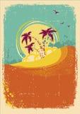 Île tropicale de vecteur sur le cru vieux Image stock
