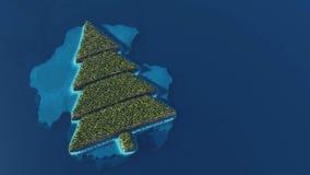 Île tropicale en forme d'arbre de Noël illustration stock