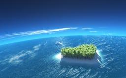 Île tropicale en forme de coeur Photographie stock libre de droits