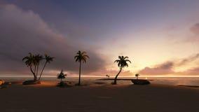 Île tropicale et navigation de yacht au coucher du soleil illustration stock