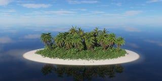 Île tropicale isolée avec des palmiers Image libre de droits