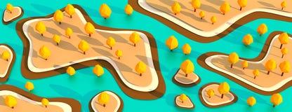 Îles avec les arbres jaunes avec le bas poly panorama d'illustration de la conception 3D de l'eau bleue illustration de vecteur