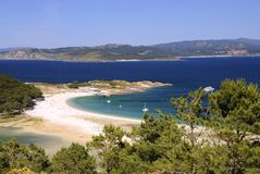 Îles de Cies à Vigo, Espagne Photographie stock libre de droits
