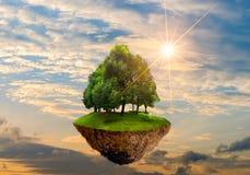 Îles de flottement avec des arbres dans l'environnement de jour de conservation du monde de jour d'environnement du monde de ciel illustration stock