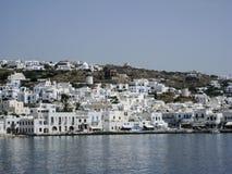 Îles de Grec de moulins à vent de Mykonos Photos libres de droits