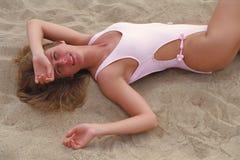 îles des Caraïbes de fille de plage vierges Image stock