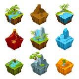Îles isométriques d'imagination avec des vulcans, de différentes usines et des rivières Éléments d'interface dans le style de ban Images libres de droits