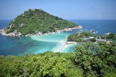 3 îles reliées par le sable, Koh Tao Photos libres de droits