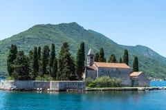 Îlot naturel avec le monastère de George Benedictine de saint Compartiment de Kotor montenegro image libre de droits