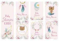 Ροζ χρυσή κάρτα πρόσκλησης ντους μωρών γεωμετρίας με ροδαλό, φύλλο, dreamcatcher, στεφάνι, φτερό διανυσματική απεικόνιση