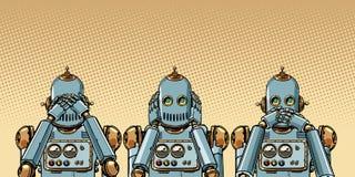 Ρομπότ Δεν βλέπω τίποτα, δεν ακούω τίποτα, για παράδειγμα τίποτα διανυσματική απεικόνιση