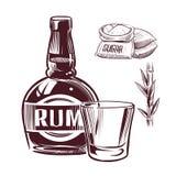 Ρούμι σκίτσων Αναδρομικό γυαλί ποτών οινοπνεύματος ρουμιού διαφήμισης και συρμένη χέρι διανυσματική απεικόνιση μπουκαλιών ελεύθερη απεικόνιση δικαιώματος