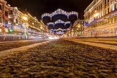 Ρωσία, Άγιος-Πετρούπολη, 03, τον Ιανουάριο του 2018: Nevsky Prospekt, νέου έτους και διακοσμήσεις Χριστουγέννων στοκ φωτογραφίες με δικαίωμα ελεύθερης χρήσης