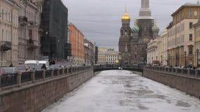 Ρωσία Άγιος-Πετρούπολη savior εκκλησιών αίματος απόθεμα βίντεο