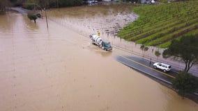 Ρωσική πλημμύρα ποταμών Κομητεία Sonoma, ασβέστιο στις 27 Φεβρουαρίου 2019 απόθεμα βίντεο