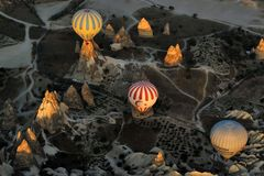 A beautiful scene on a hot air balloon,Cappadocia,Turkey stock photography