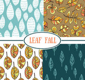 ������. Set of seamless abstract leaf fall patterns Royalty Free Stock Photography