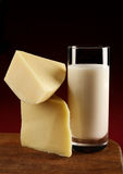 �heese slice and milk Royalty Free Stock Photos