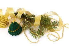 �hristmas tree and gift on white Royalty Free Stock Images