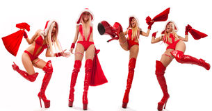 �ollage of sexy Santas girls with gift bags Royalty Free Stock Photo