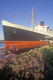 The �Queen Mary� ship docked in Long Beach, California Stock Photography