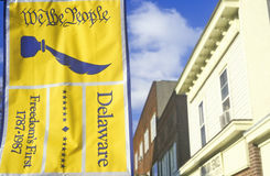 �We the People� banner hangs in the states capital city of Dover, Delaware royalty free stock image