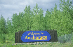 �Welcome to Anchorage� sign in Anchorage, Alaska Stock Photos