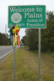 �Welcome to Plains� sign, the home of the 39th President, Jimmy Carter, Plains, Georgia Stock Photos