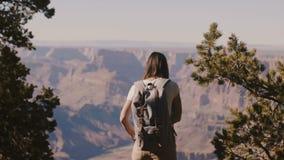 Όμορφη νέα ευτυχής γυναίκα τουριστών με το σακίδιο πλάτης που προσέχει τα επικά μεγάλα βουνά φαραγγιών, που περπατούν πίσω στη κά απόθεμα βίντεο