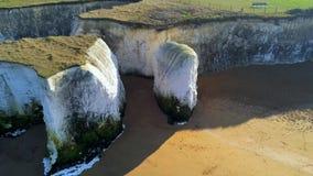 Όμορφοι βράχοι κόλπων και κιμωλίας βοτανικής στην Αγγλία άνωθεν φιλμ μικρού μήκους