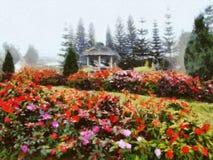 Όμορφος κήπος σε μια misty ημέρα διανυσματική απεικόνιση