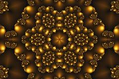 Όμορφο αφηρημένο υπόβαθρο υπό μορφή mandala στο χρυσό χρώμα φιαγμένο από fractals στοκ εικόνα