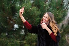 Όμορφο κορίτσι που κάνει selfie στο πάρκο φθινοπώρου στοκ εικόνες