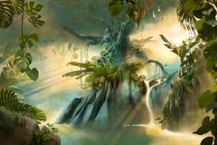 Όμορφο ονειροπόλο τοπίο ζουγκλών με το μεγάλο παλαιό δέντρο ελεύθερη απεικόνιση δικαιώματος