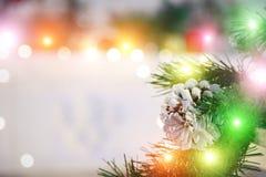 Όμορφο υπόβαθρο Χριστουγέννων για τη ευχετήρια κάρτα διάστημα αντιγράφων Ανασκόπηση διακοσμήσεων Χριστουγέννων στοκ εικόνες με δικαίωμα ελεύθερης χρήσης