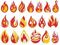 σαν τοίχο φλογών ανασκόπησης θαυμάσιο Φλόγες πυρκαγιάς κινούμενων σχεδίων καθορισμένες απεικόνιση αποθεμάτων