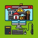 Σε απευθείας σύνδεση έννοια επιχειρησιακών ψηφιακή χρημάτων, τραπεζικό εμπόριο Διαδικτύου απεικόνιση αποθεμάτων